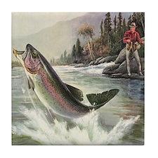 Vintage Fishing, Rainbow Trout Tile Coaster