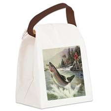 Vintage Fishing, Rainbow Trout Canvas Lunch Bag