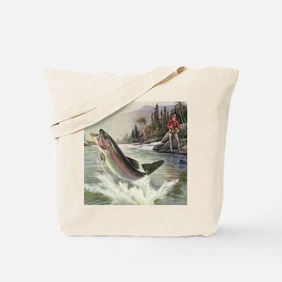 Vintage Fishing, Rainbow Trout Tote Bag
