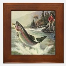 Vintage Fishing, Rainbow Trout Framed Tile