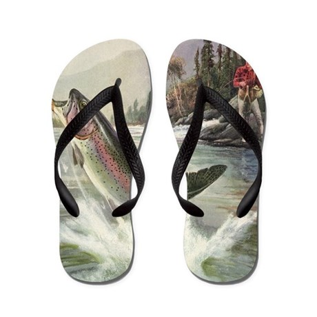 Vintage fishing rainbow trout flip flops by admin cp14940502 for Fish flip flops