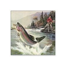 """Vintage Fishing, Rainbow Tr Square Sticker 3"""" x 3"""""""