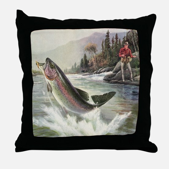 Vintage Fishing, Rainbow Trout Throw Pillow