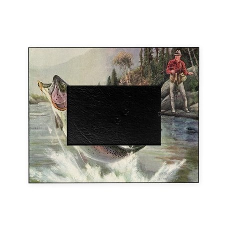 Vintage fishing rainbow trout picture frame by admin for Fishing picture frame