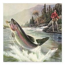 "Vintage Fishing, Rainbow Square Car Magnet 3"" x 3"""