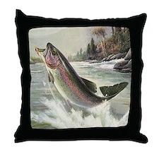 Vintage Rainbow Trout Throw Pillow