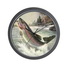 Vintage Rainbow Trout Wall Clock