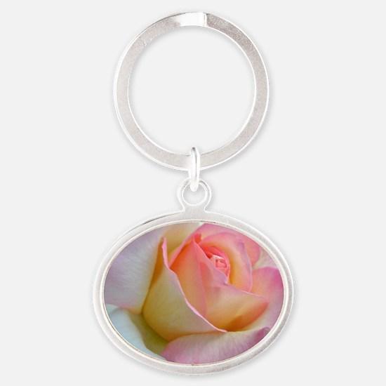 SOFTLY ROSE Oval Keychain