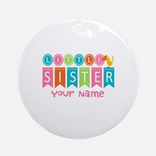 Colorful Whimsy Bird Little Sister Ornament (Round