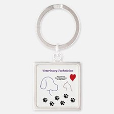 Veterinary Technician-Paw Prints o Square Keychain