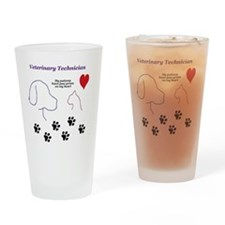 Veterinary Technician-Paw Prints on Drinking Glass