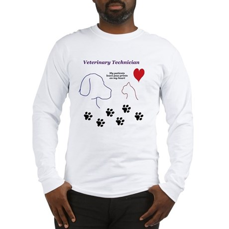 Veterinary Technician-Paw Prin Long Sleeve T-Shirt