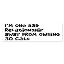 Cat Lady: One Bad Relationship Away Bumper Sticker