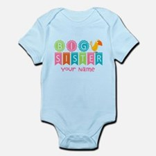 Colorful Whimsy Bird Big Sister Infant Bodysuit