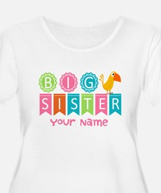 Colorful Whimsy Bird Big Sister T-Shirt