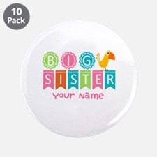 "Colorful Whimsy Bird Big Sister 3.5"" Button (10 pa"
