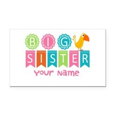 Colorful Whimsy Bird Big Sister Rectangle Car Magn