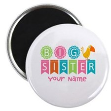 """Colorful Whimsy Bird Big Sister 2.25"""" Magnet (10 p"""