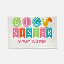 Colorful Whimsy Bird Big Sister Rectangle Magnet