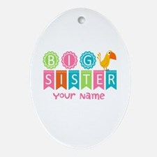 Colorful Whimsy Bird Big Sister Ornament (Oval)