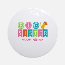 Colorful Whimsy Bird Big Sister Ornament (Round)