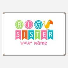 Colorful Whimsy Bird Big Sister Banner