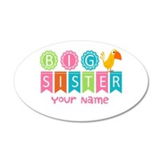 Colorful Whimsy Bird Big Sister 20x12 Oval Wall De