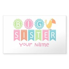 Colorful Whimsy Bird Big Sister Decal