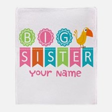 Colorful Whimsy Bird Big Sister Throw Blanket