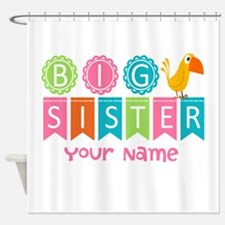 Colorful Whimsy Bird Big Sister Shower Curtain