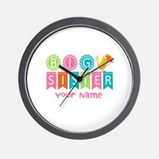 Colorful Whimsy Bird Big Sister Wall Clock