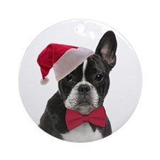 Santa Frenchie Ornament (Round)