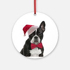 Santa Frenchie Ornament (Round)