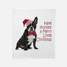 Santa Frenchie Throw Blanket