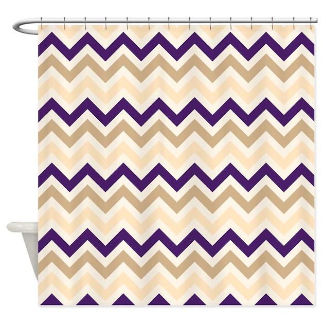 Tan Eggplant Purple Ivory Chevron Shower Curtain By