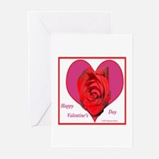 Red Rose on Pink Heart Greeting Cards (Package of