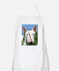 Cute English Bull Terrier Hiding in the Gras Apron