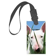 Cute English Bull Terrier Hiding Luggage Tag