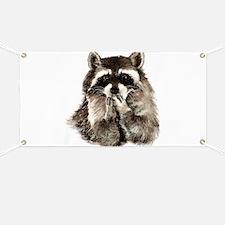 Cute Humorous Watercolor Raccoon Blowing a Kiss Ba