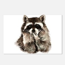 Cute Humorous Watercolor Raccoon Blowing a Kiss Po