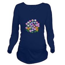 Pansies Long Sleeve Maternity T-Shirt