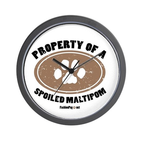 Maltipom dog Wall Clock