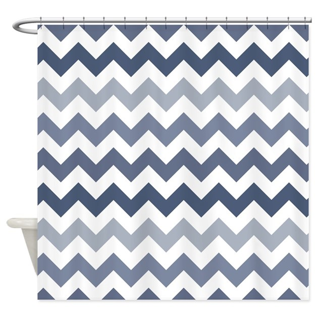 Shades Of Blue Chevron Pattern Shower Curtain By Mightynicestuff