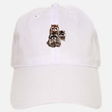 Cute Watercolor Raccoon Animal Family Hat