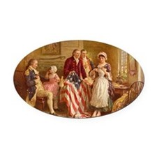 Betsy Ross Designing The Tea Party Flag Oval Car M