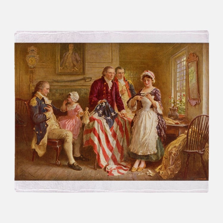Betsy Ross Designing The Tea Party Flag Throw Blan
