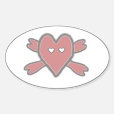 Heart and Crossbones Oval Decal