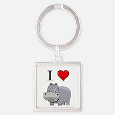 Hippopotamus,  Square Keychain