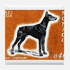 Vintage 1970 Monaco Doberman Dog Postage Stamp Til