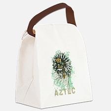 Aztec Warrior Skull Canvas Lunch Bag